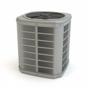air-conditioning-condenser-against-white-background